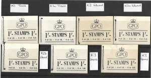 Full set of K1 - K3a QE II Wilding 1/- GPO Booklets - 7 in total all complete