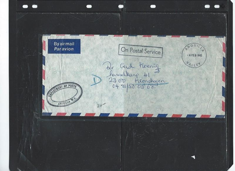 ANGUILLA  (P2903B) 1987 OPS DEPT OF POSTS ANGUILLA VALLEY STAMPLESS TO GERMANY