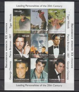 Turkmenistan, 2000 Russian Local. Tiger Woods, Cinema stars sheet of 9.
