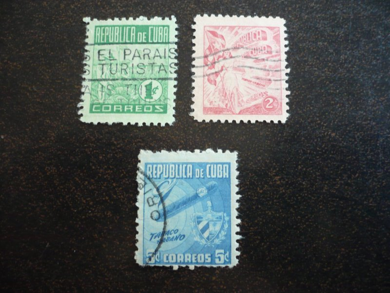 Stamps - Cuba - Scott#445-447 - Used Set of 3 Stamps