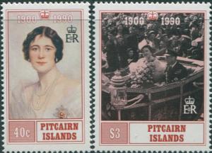 Pitcairn Islands 1990 SG378-379 Queen Mother 90th Birthday set MNH