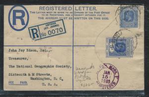 LEEWARD ISLANDS (P2712B) 1935  KGV 3D RLE UPRATED 2 1/2D ANTIGUA TO USA