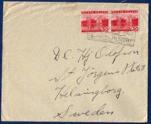 Poland 1937 Cover Ship MS Pilsudski Scott 299 Vert.Pair Stamps W. LETTER INSIDE
