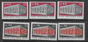French Andorra 188-9 MNH set x 3,  vf see desc. 2020 CV$49.50