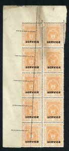 Bhopal SGO313c 1932 1/4a Orange Perf 13.5 MISPERF Block (no gum) (a)