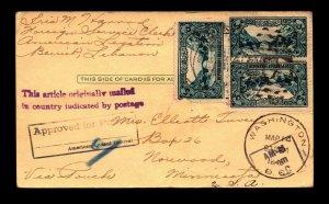 Lebanon 1945 Post Card to USA / Canceled Washington DC / Minor Creasing - L11155