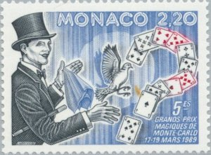 Monaco 1989 Magician with dove and playing cards MNH**