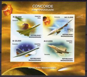 Madagascar 2011 CONCORDE 40th.Ann.Halley's Comet Sheetlet (4) #1 IMPERF. MNH