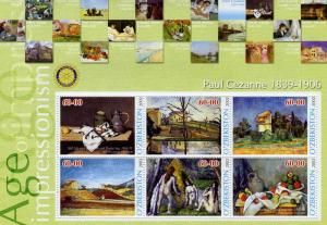 UZBEKISTAN 2002 Paul Cezanne Paintings Sheet Perforated mnh.vf