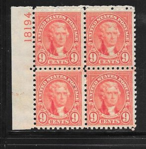 US# 590 9c Jefferson plate block of 4,(MNH) CV.$225.00