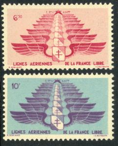 SYRIA FREE FRENCH ADMINISTRATION 1942 Military AIRMAIL Set Sc MC5-MC6 MLH