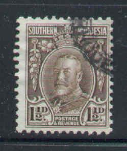 Southern Rhodesia-Sc#18b-used 1&1/2p dp brown KGV-perf 12-1933-