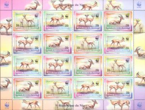 Niger 1998 Gazelle Deer Animals WWF Wildlife Nature 4vx4 MNH Full Sheet (L-115)