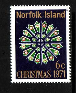 Norfolk Is.-Sc#148-Unused hinged set-Christmas-Stained Glass-1971-