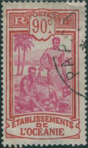 French Oceania 1913 SG59 90c mauve and red Kanakas FU