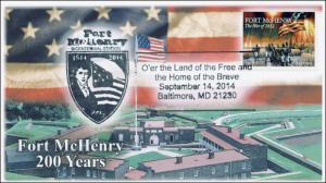 2014, Fort McHenry, Baltimore MD, Star-Spangled Banner, Pictorial Cancel, 14-219