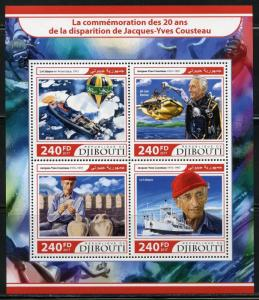 DJIBOUTI 2017 20th MEMORIAL ANNIVERSARY OF JACQUES COUSTEAU SHEET MINT NH