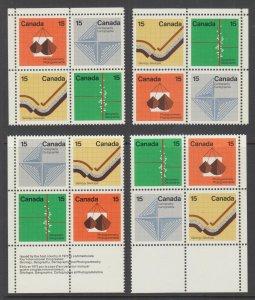 Canada Uni 585b MNH. 1972 15c Earth Sciences, Matched Sheet Corner Blocks, VF