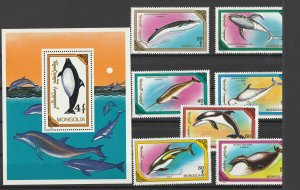 Mongolia MNH S/S & 7 Stamps Dolphins 1990