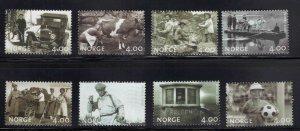 Norway Scott 1228-1235 MNH** 1999 Picture set margin tihn on top value CV$14 set