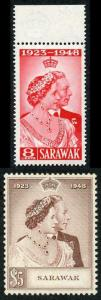 Sarawak SG165/6 1948 Silver Wedding M/Mint (light toning)
