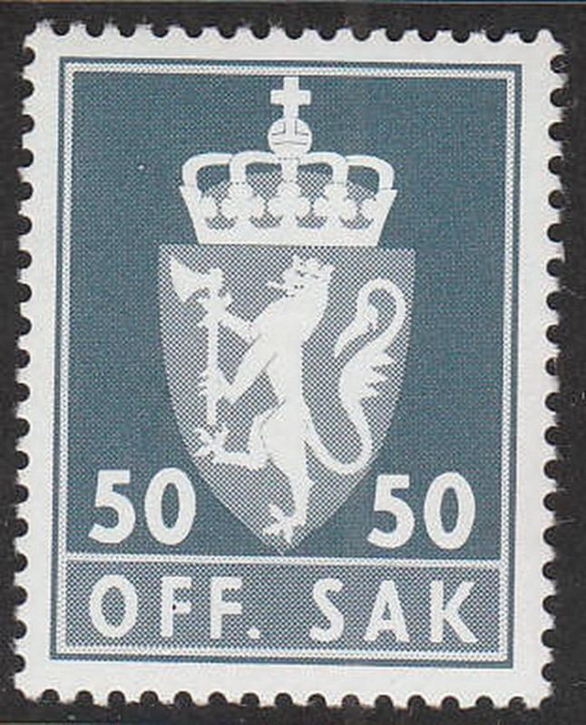 Stamp Norway Official Sc O100 1975 Coat of Arms Dotted Emblem Dienst MNH