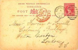 Gibraltar 1d QV Postal Card 1887 Gibraltar A26 duplex to London, England.  Cr...