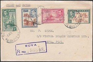FIJI 1938 GVI 4 values on registered FDC ex Suva............................F919