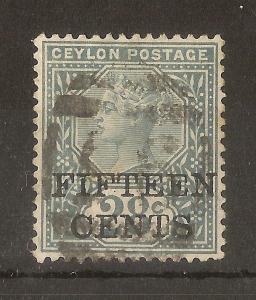 Ceylon 1891 15c on 28c SG240 Fine Used Cat£9