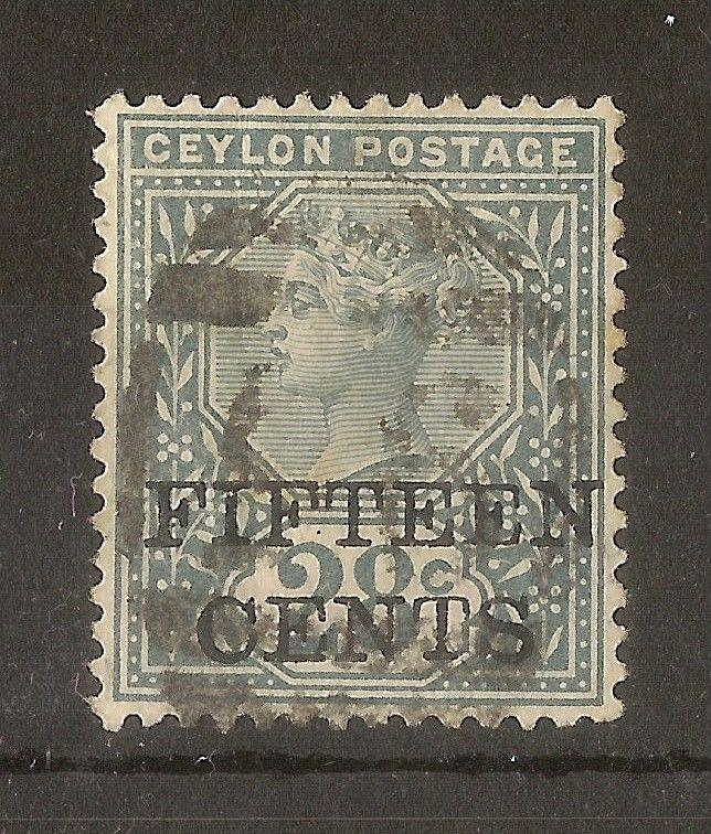 Ceylon 1891 15c on 28c SG240 Fine Used Cat£9