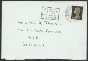 GB 1966 cover NORTH EASTERN TPO NT DOWN cds, 1d Late Fee Not Paid..........50595
