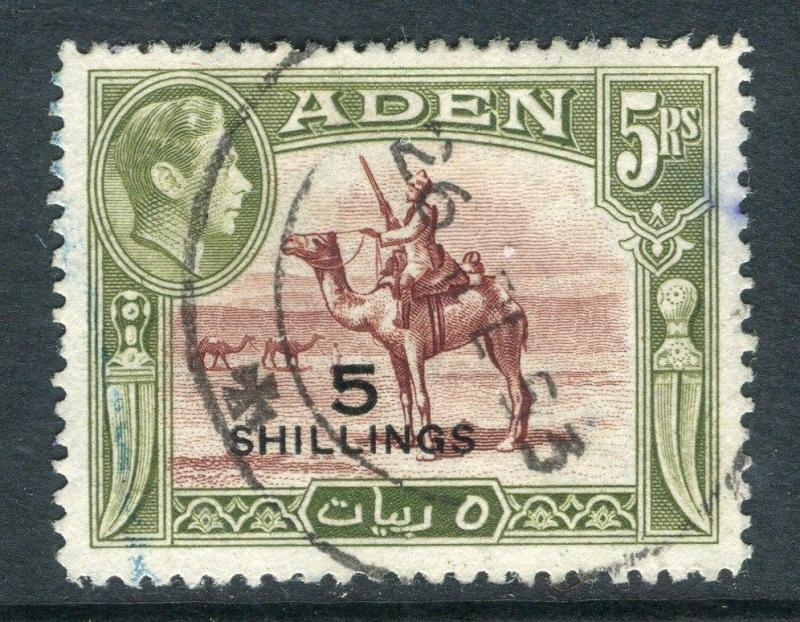 ADEN;  1951 early GVI surcharged issue fine used 5s. value, Shade