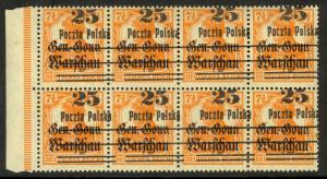 POLAND 1918-19 25pf on 7 1/2pf SHIFTED BLOCK OF 8 Sc 23 MNH