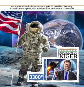 NIGER - 2021 - Kennedy and Apollo - Perf Souv Sheet - Mint Never Hinged