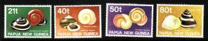 Papua New Guinea:SC#750-3-unused set-NH-Snail Shells-