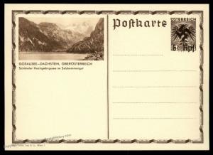 Austria Ostmark Gosausee Postal Card Unissued Swastika Overprint Cover 91061