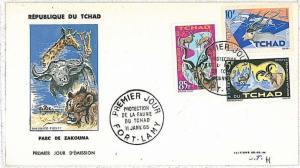 ANIMALS - LION . GIRAFFE : FDC COVER - TCHAD  1965