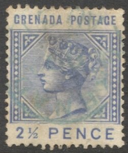GRENADA 1883 Sc 22, Used 2-1/2d  QV with Green cancel, VF
