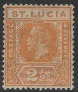 ST.LUCIA SG97 1925 2½d ORANGE MTD MINT
