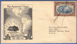 EL SALVADOR 1940 Pan-American Union FDC, Autographed by President Martinez