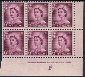 NEW ZEALAND 1955 QE 6d large figures  plate block #2 fine mint.............79252