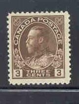 Canada Sc 108 1923 3 c brown George V Admiral issue stamp mint