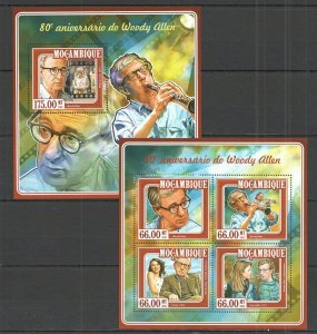 ST2351 2015 Mosambik Kino Legende Woody Allen KB + Bl MNH