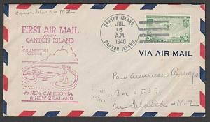 GILBERT & ELLICE IS US PO 1940 first flight cover Canton Is to NZ..........55580