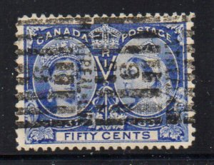 Canada Sc 60 1897 50c Victoria Jubilee stamp used Montreal Roller cancel