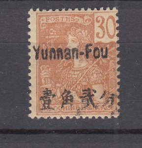 J28867, 1906 france office china yunnan fou mhr #25 ovpt