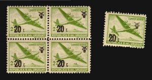 Uruguay plane over hill lighthouse MNH block with the Double fortress ERROR