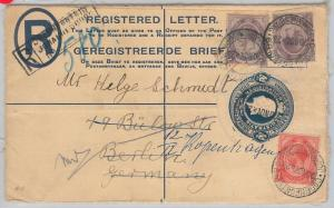 52009 - South Africa -  POSTAL STATIONERY Registered COVER to GERMANY 1923