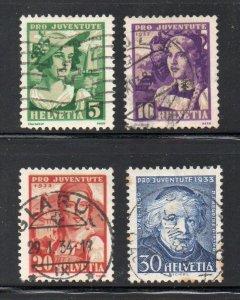 Switzerland Sc B65-68 1933  Pro Juventute Girls stamp set used