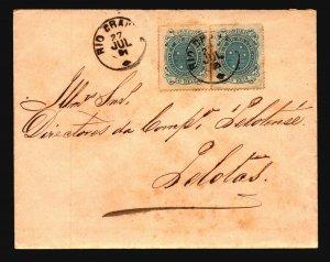 Brazil SC# 100c Pair on 1891 Cover to Pelotas - Z19399